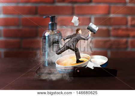 Businessman in a hurry running on the barber's table