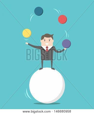 Businessman Balancing On Ball