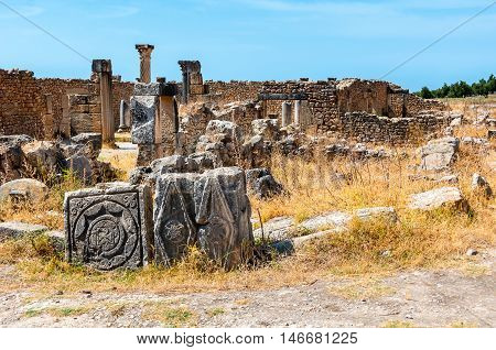 Volubilis Morocco - touristic attraction and a Roman archaeological site situated near Meknes. It was listed a UNESCO World Heritage and is a well preserved colonial town of the Roman Empire