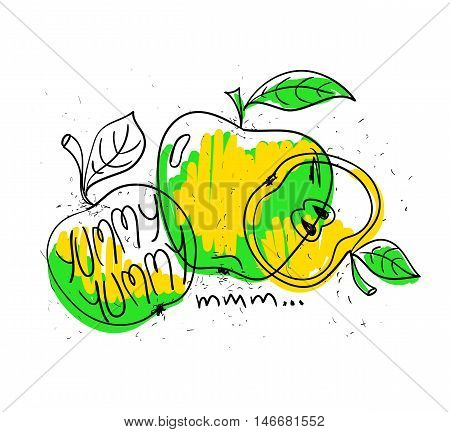 Hand drawn illustration of isolated colorful apples on a white background. Bright funny cartoon apples with text yummy yummy.