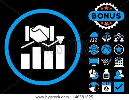 Acquisition Graph icon with bonus. Glyph illustration style is flat iconic bicolor symbols, blue and white colors, black background.