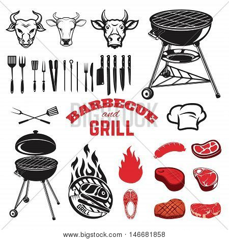 Bbq and grill design elements. Cow heads. Kitchen tools. Steaks. Raw meat. Grilled fish.