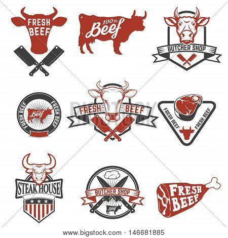Set of fresh beef labels. Cow meat. Butcher shop. Fresh meat. Design elements for logo label emblem sign brand mark. Vector illustration.