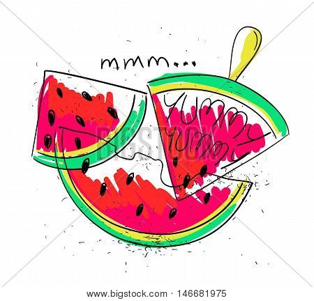 Hand drawn illustration of isolated colorful watermelon slices on a white background. Bright funny cartoon watermelon with text yummy yummy.