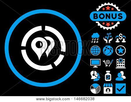 Geo Diagram icon with bonus. Glyph illustration style is flat iconic bicolor symbols, blue and white colors, black background.
