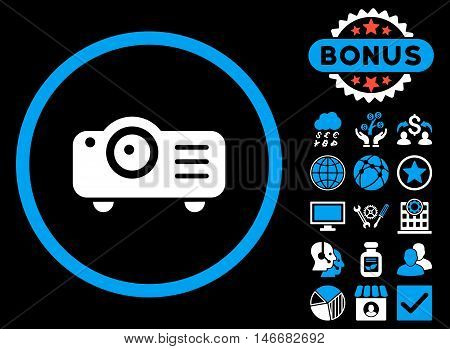 Projector icon with bonus. Glyph illustration style is flat iconic bicolor symbols, blue and white colors, black background.