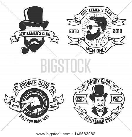 Set of mens club labels. Private men's club. Design element for logo label emblem sign t-shirt print poster. Vector illustration.