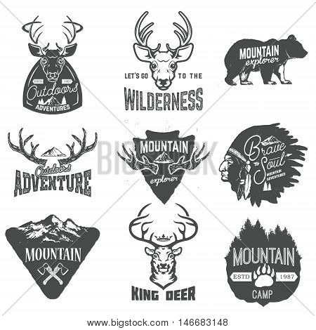 Set of outdoors adventures mountains exploration labels and badges isolated on white background. Design elements for logo label emblem sign brand mark. Vector illustration.