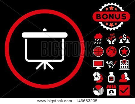 Projection Board icon with bonus. Glyph illustration style is flat iconic bicolor symbols, red and white colors, black background.