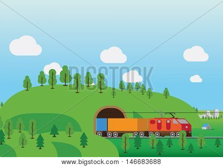 Railroad tunnel vector illustration. Delivery by train concept.