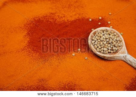 Coriander seeds in spoon on spices background