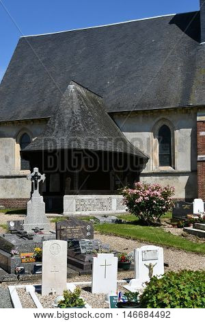 Bosc Bordel France - june 23 2016 : the Saint Jean Baptiste church and cemetery