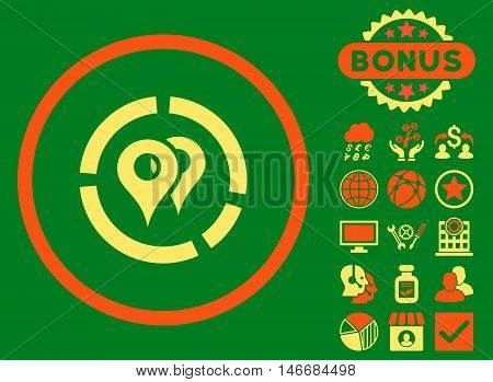 Geo Diagram icon with bonus. Glyph illustration style is flat iconic bicolor symbols, orange and yellow colors, green background.