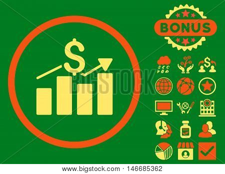 Sales Chart icon with bonus. Glyph illustration style is flat iconic bicolor symbols, orange and yellow colors, green background.