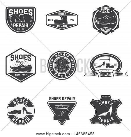 Shoes repair labels. design elements for logo label emblem sign. Vector illustration.