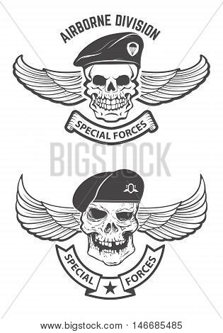 special forces. Winged skulls in military headdresses. Design elements for emblem badge. Vector illustration.