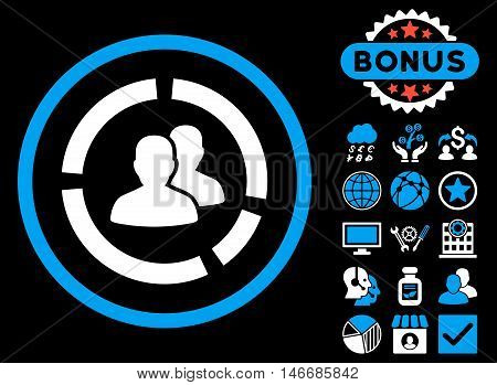 Demography Diagram icon with bonus. Glyph illustration style is flat iconic bicolor symbols, blue and white colors, black background.
