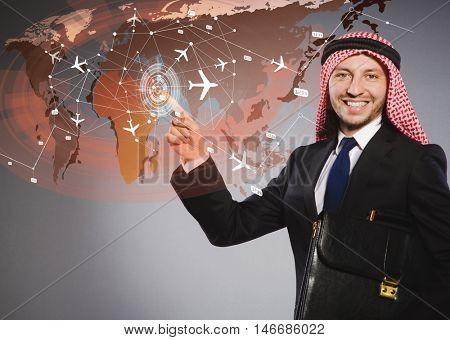 Arab man in world travel concept