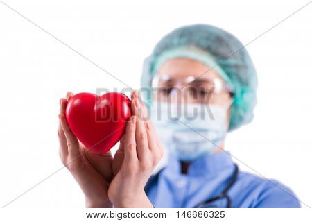 Doctor cardiologist isolated on the white background