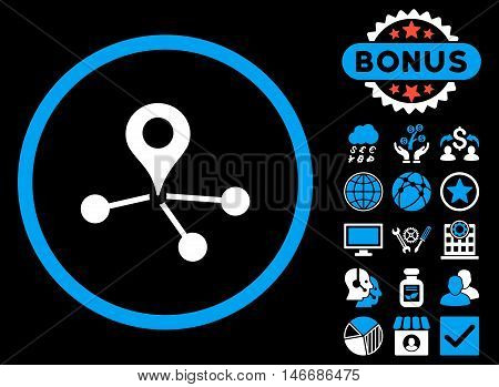 Geo Network icon with bonus. Glyph illustration style is flat iconic bicolor symbols, blue and white colors, black background.