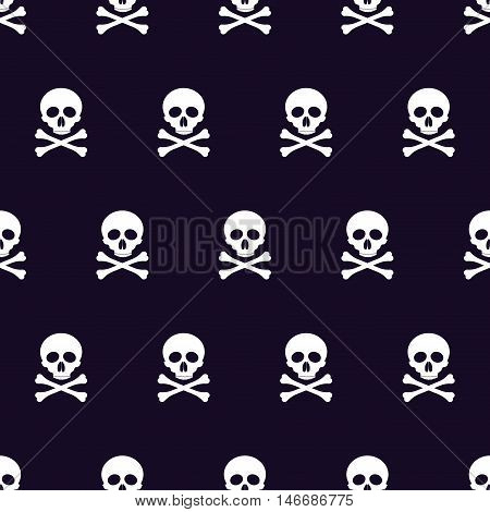 vector seamless pattern with skulls and bones black background.