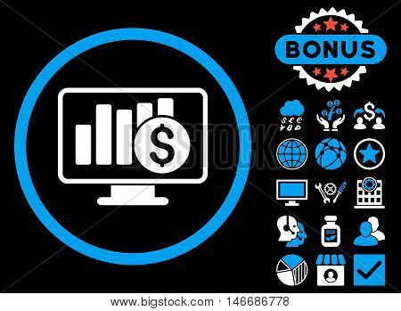 Sales Monitor icon with bonus. Glyph illustration style is flat iconic bicolor symbols, blue and white colors, black background.