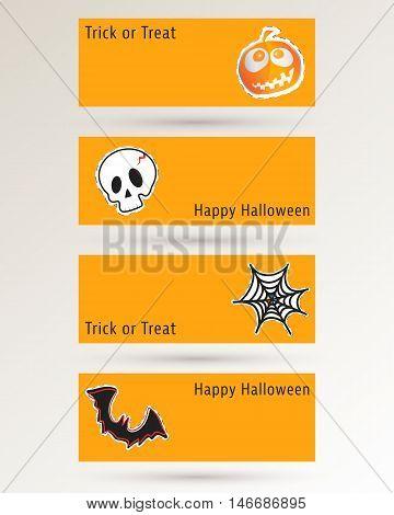 Halloween pumpkin, skull, cobweb and bat. Website spooky banner or header template. Vector illustration.