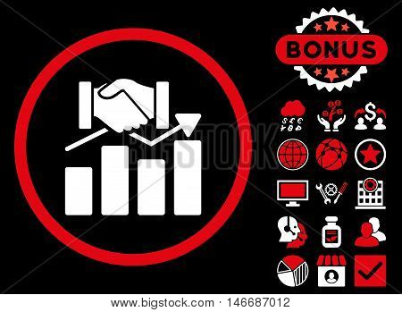Acquisition Graph icon with bonus. Glyph illustration style is flat iconic bicolor symbols, red and white colors, black background.