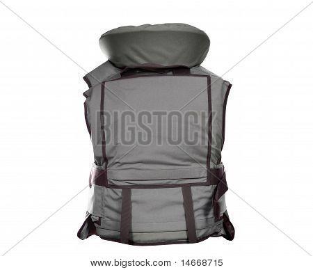backside of heavy bulletproof vest isolated