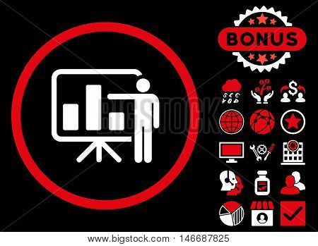 Bar Chart Presentation icon with bonus. Glyph illustration style is flat iconic bicolor symbols, red and white colors, black background.