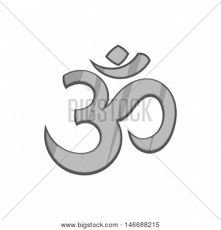 Om sign icon in black monochrome style isolated on white background. Religion symbol vector illustration