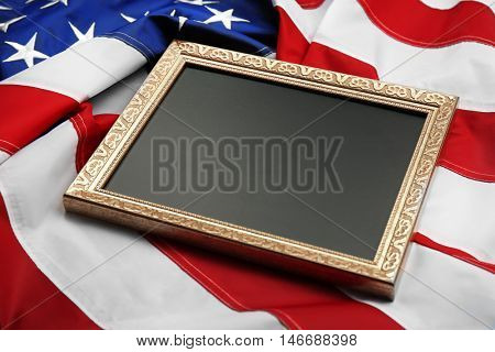 Photo frame on USA flag background