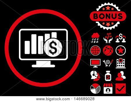 Sales Monitor icon with bonus. Glyph illustration style is flat iconic bicolor symbols, red and white colors, black background.