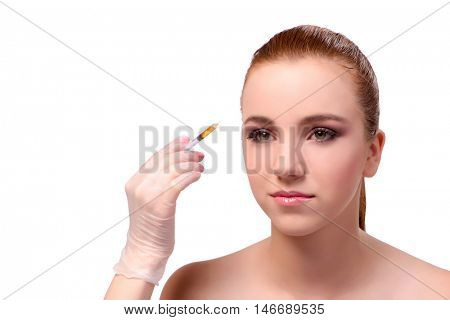 Young woman preparing for facial treatment isolated on white