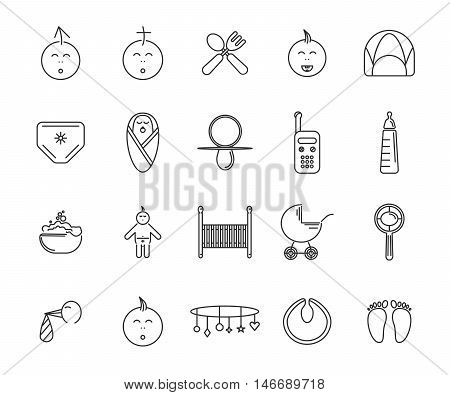 baby 20 icons set vector eps 10