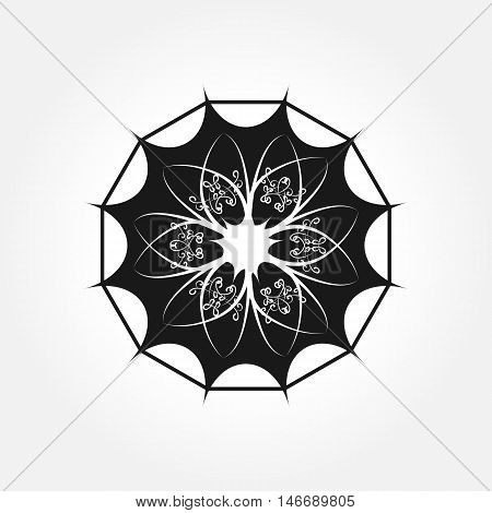A single abstract floral element. Logo symbol flower dodecahedron frame. Isolated.