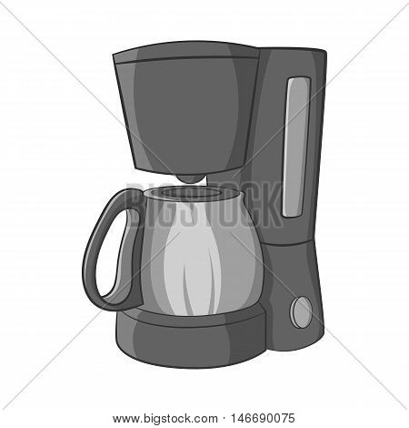 Coffee maker icon in black monochrome style isolated on white background. Appliances symbol vector illustration