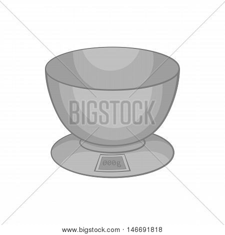 Kitchen scales icon in black monochrome style isolated on white background. Appliances symbol vector illustration