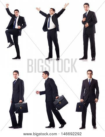 Collage of businessman isolated on white