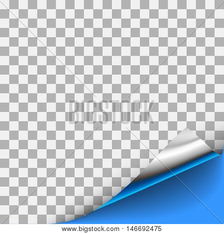 Silver curled corner with blue background. For page design with curled corner, document design with curled corner, web graphic with curled corner, banner, flyer design with curled corner.