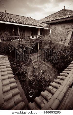Old Naxi style courtyard in Lijiang, Yunnan, China.