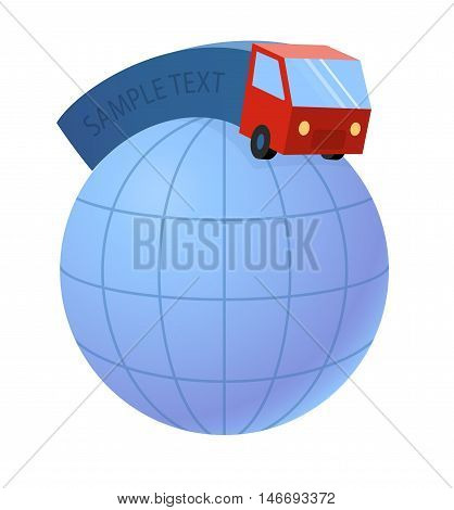 delivery truck and world earth globe - trucking industry, vector illustration eps