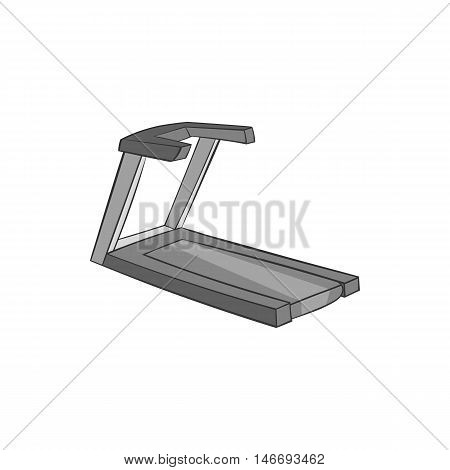 Treadmill icon in black monochrome style isolated on white background. Simulators symbol vector illustration