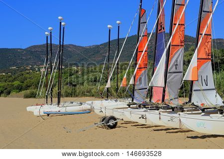 La Croix Valmer, Provence, France - August 23 2016: Sailing Dinghies From A Yachting School In Early
