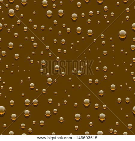 Water transparent drops seamless pattern. Rain drops. Condensed water on brown background. Water drops scattered across the surface. Vector illustration