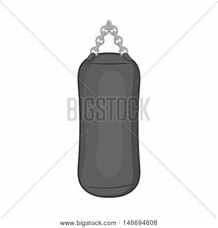 Punching bag icon in black monochrome style isolated on white background. Training symbol vector illustration