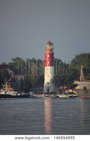 beacon on the bank of navigable the channel in the Baltic Sea