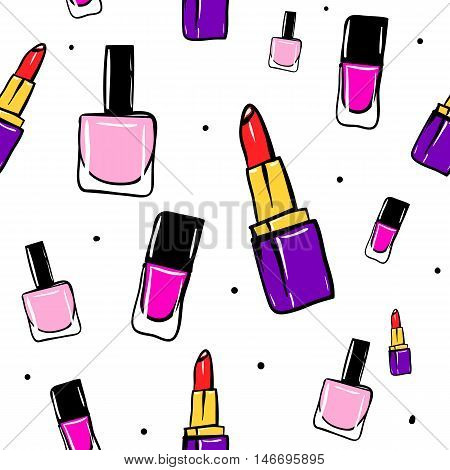 Vector seamless pattern with lipstick, nail polish. Hand drawn cute and fun fashion illustration sketch patches or stickers. Modern doodle pop art endless lipstick and nail polish design