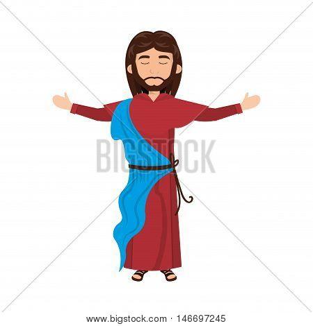 jesus christ man with open arms cartoon. catholic religion. vector illustration