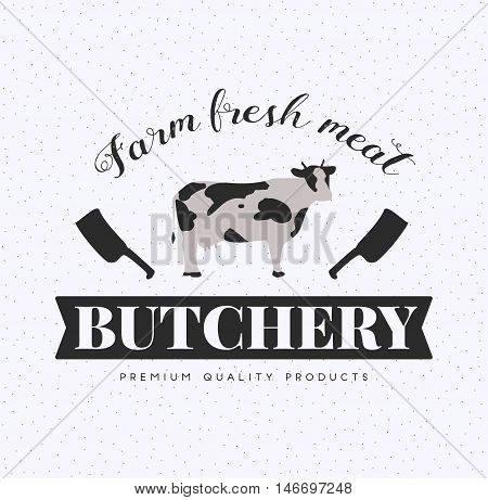 Butcher Shop Logo, Meat Label Template with Cow